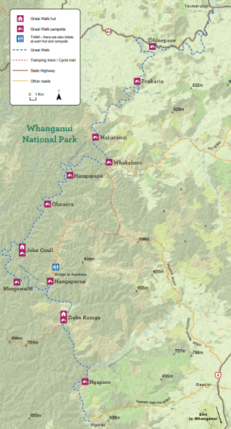 Carte de Whanganui Journey issue du DOC (brochure officielle)
