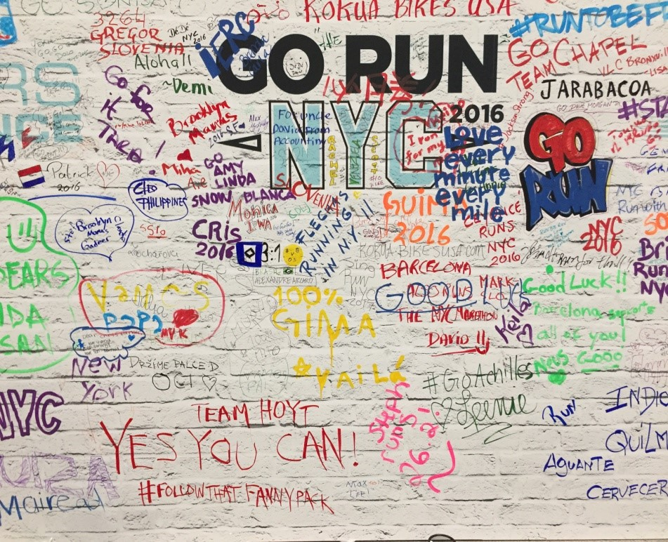 Le mur d'encoragement pour le marathon de New York